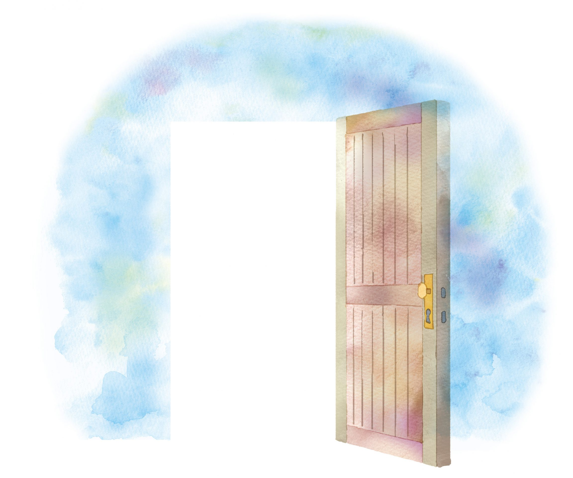 Watercolor wooden door opening into the light surrounded by blue sky