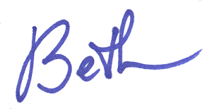Beth written in blue ink script