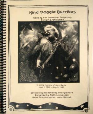 spiral bound cookbook Kind Veggie Burritos with Jerry Garcia artwork