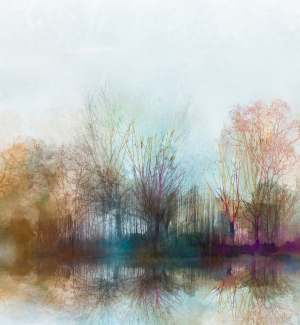 Misty watercolor of trees and lake