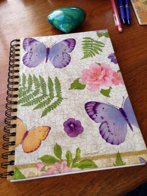 Spiral notebook I decoupaged butterfly images