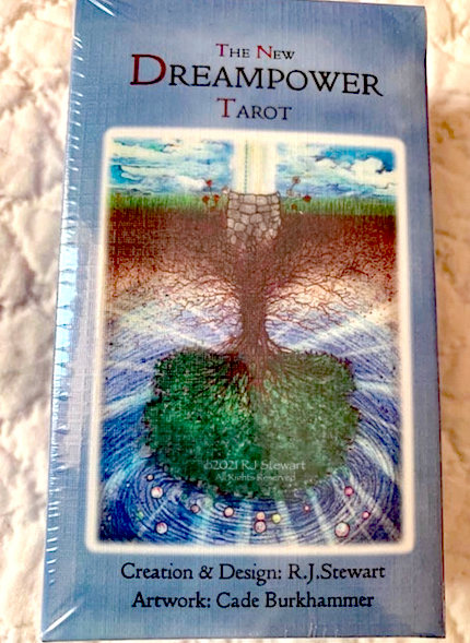 Box of Dreampower Tarot cards on quilt background
