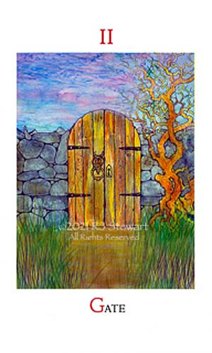 Arte del tarot de Dreampower con pared de portería de madera y árbol retorcido